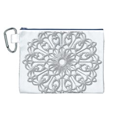 Scrapbook Side Lace Tag Element Canvas Cosmetic Bag (L)