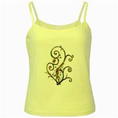 Scroll Magic Fantasy Design Yellow Spaghetti Tank