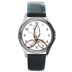 Abstract Shape Stylized Designed Round Metal Watch