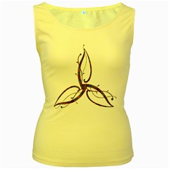 Abstract Shape Stylized Designed Women s Yellow Tank Top