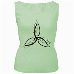 Abstract Shape Stylized Designed Women s Green Tank Top