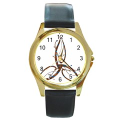 Abstract Shape Stylized Designed Round Gold Metal Watch