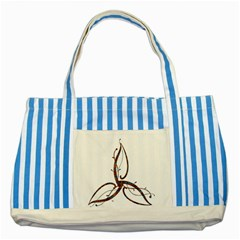 Abstract Shape Stylized Designed Striped Blue Tote Bag