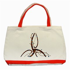 Abstract Shape Stylized Designed Classic Tote Bag (red)