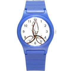 Abstract Shape Stylized Designed Round Plastic Sport Watch (s)