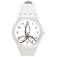 Abstract Shape Stylized Designed Round Plastic Sport Watch (m)