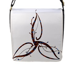 Abstract Shape Stylized Designed Flap Messenger Bag (l)