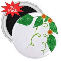Scrapbook Green Nature Grunge 3  Magnets (10 Pack)