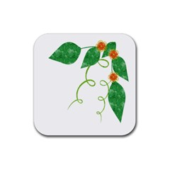 Scrapbook Green Nature Grunge Rubber Coaster (square)