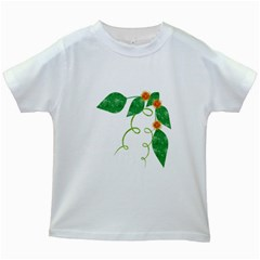 Scrapbook Green Nature Grunge Kids White T Shirts