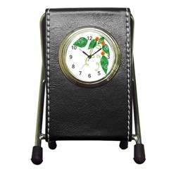 Scrapbook Green Nature Grunge Pen Holder Desk Clocks