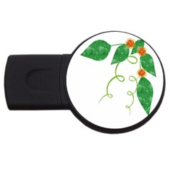 Scrapbook Green Nature Grunge Usb Flash Drive Round (4 Gb)