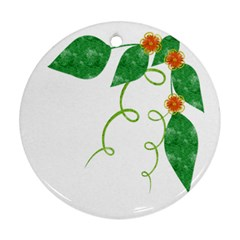 Scrapbook Green Nature Grunge Round Ornament (two Sides)