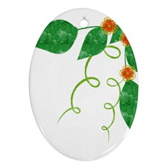 Scrapbook Green Nature Grunge Oval Ornament (Two Sides)