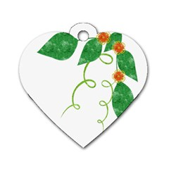 Scrapbook Green Nature Grunge Dog Tag Heart (Two Sides)
