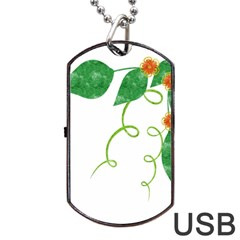 Scrapbook Green Nature Grunge Dog Tag USB Flash (Two Sides)