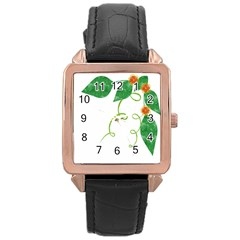 Scrapbook Green Nature Grunge Rose Gold Leather Watch