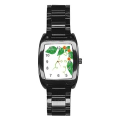 Scrapbook Green Nature Grunge Stainless Steel Barrel Watch