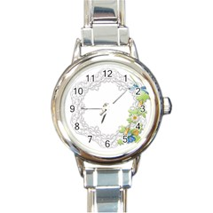 Scrapbook Element Lace Embroidery Round Italian Charm Watch