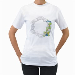 Scrapbook Element Lace Embroidery Women s T Shirt (white) (two Sided)