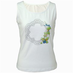 Scrapbook Element Lace Embroidery Women s White Tank Top