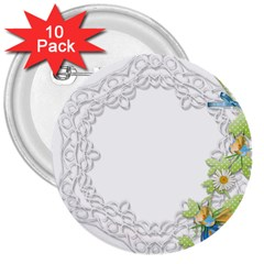 Scrapbook Element Lace Embroidery 3  Buttons (10 Pack)