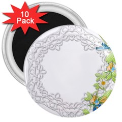 Scrapbook Element Lace Embroidery 3  Magnets (10 Pack)