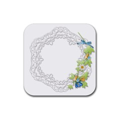 Scrapbook Element Lace Embroidery Rubber Square Coaster (4 Pack)