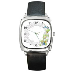 Scrapbook Element Lace Embroidery Square Metal Watch