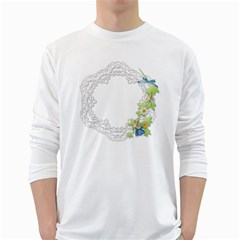 Scrapbook Element Lace Embroidery White Long Sleeve T-Shirts