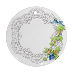 Scrapbook Element Lace Embroidery Round Ornament (Two Sides)