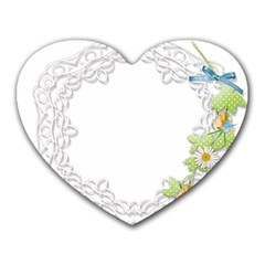 Scrapbook Element Lace Embroidery Heart Mousepads