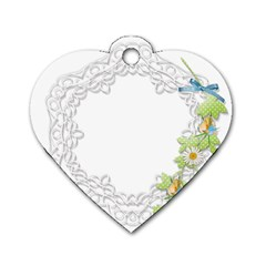 Scrapbook Element Lace Embroidery Dog Tag Heart (One Side)