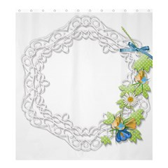Scrapbook Element Lace Embroidery Shower Curtain 66  x 72  (Large)