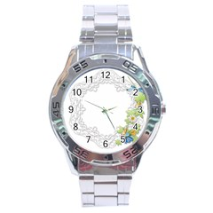 Scrapbook Element Lace Embroidery Stainless Steel Analogue Watch