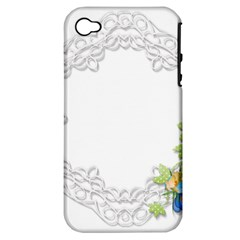 Scrapbook Element Lace Embroidery Apple iPhone 4/4S Hardshell Case (PC+Silicone)