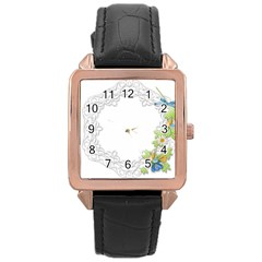 Scrapbook Element Lace Embroidery Rose Gold Leather Watch