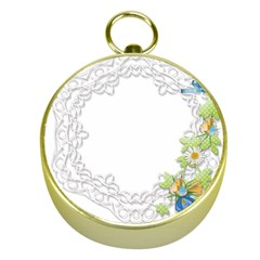 Scrapbook Element Lace Embroidery Gold Compasses
