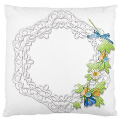 Scrapbook Element Lace Embroidery Large Flano Cushion Case (one Side)