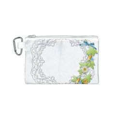 Scrapbook Element Lace Embroidery Canvas Cosmetic Bag (S)