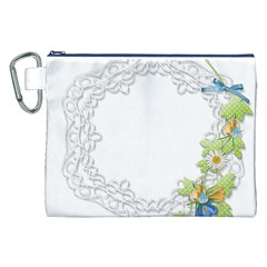 Scrapbook Element Lace Embroidery Canvas Cosmetic Bag (XXL)