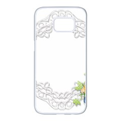Scrapbook Element Lace Embroidery Samsung Galaxy S7 Edge White Seamless Case