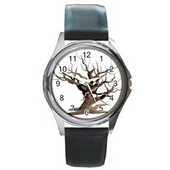 Tree Isolated Dead Plant Weathered Round Metal Watch