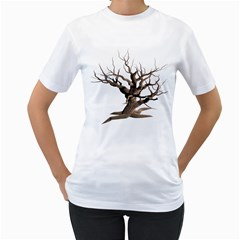 Tree Isolated Dead Plant Weathered Women s T-Shirt (White) (Two Sided)