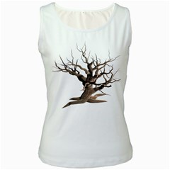 Tree Isolated Dead Plant Weathered Women s White Tank Top