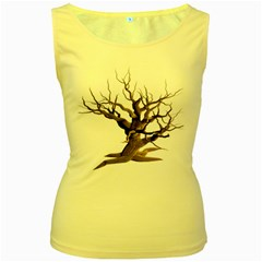 Tree Isolated Dead Plant Weathered Women s Yellow Tank Top
