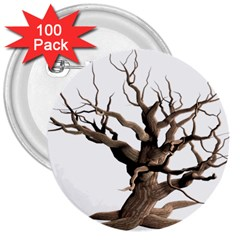 Tree Isolated Dead Plant Weathered 3  Buttons (100 pack)