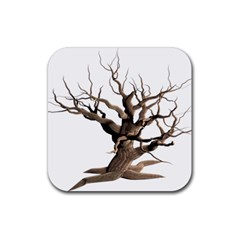 Tree Isolated Dead Plant Weathered Rubber Square Coaster (4 Pack)