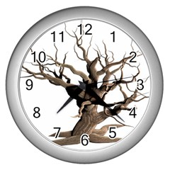 Tree Isolated Dead Plant Weathered Wall Clocks (Silver)