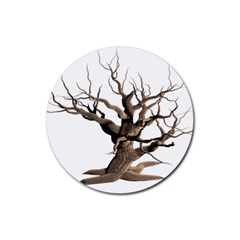 Tree Isolated Dead Plant Weathered Rubber Round Coaster (4 pack)